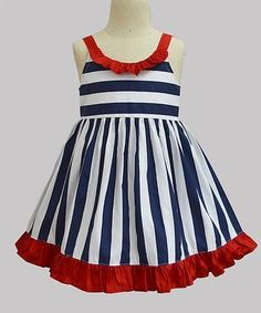 Love this Navy & Red Stripe Ruffle A-Line Dress - Infant, Toddler & Girls on Fit Flare Dress, Fit And Flare, Little Girl Dresses, Girls Dresses, Summer Dresses, Toddler Girl Dresses, Toddler Girls, Kids Frocks, Frock Design