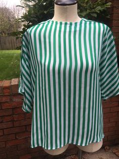Vintage Green and White Striped Semi Sheer Pull Over Blouse #Serena