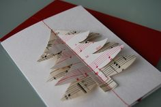 Christmas Card - hand made from vintage sheet music