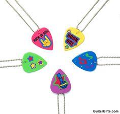 Party Favors:  Guitar pick necklaces