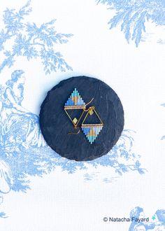Miuki delica & micro macrame triangle earrings / turquoise blue, chalcedony blue, serenity blue // Pantone spring summer 2016.   © Natacha Fayard  #miyuki #delica #macrame #MicroMacrame #earrings #jewelry #triangle #blue #turquoise #chalcedony #serenity #pantone #spring #spring2016 #summer2016
