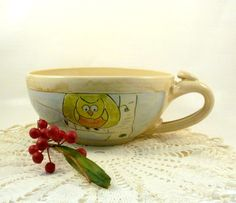 Yellow ceramic bowl with handle SM72 IN STOCK by BlueSkyPotteryCO
