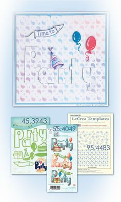 Leane Creatief stempel Party 55.4049 | stansmal Pary Combi 45.3943 Party, Bullet Journal, Templates, Stencils, Parties, Vorlage, Models
