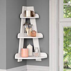Freestanding Bathroom Shelves, Bathroom Wall Shelves, Laundry Room Shelves, Corner Wall Shelves, Bathroom Storage, Laundry Rooms, Corner Cabinets, Small Laundry, Wall Organization