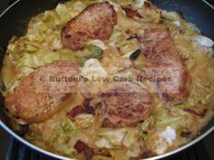 Creamy cabbage and pork chops. I've made this before and it is ABSOLUTELY amazing. Making it again for date night.