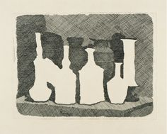 Giorgio Morandi Natura morta con due oggetti e un drappo su un tavolo 1931 Incisione all'acquaforte da matrice di rame Inciso 23,9 x 19,9 cm Private Collection