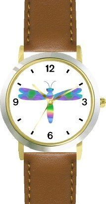 Multicolored No.4 Dragonfly or Dragon Fly - JP - WATCHBUDDY® DELUXE TWO-TONE THEME WATCH - Arabic Numbers - Brown Leather Strap-Size-Children's Size-Small ( Boy's Size & Girl's Size ) WatchBuddy. $49.95. Save 38% Off!