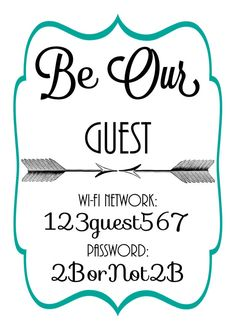 Arrow and Frame Wi-Fi network  password sign by OurWonderfulLife