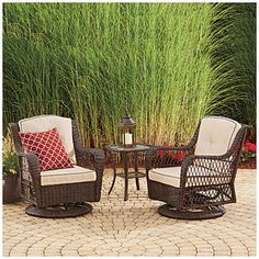 A Barcelona Resin Wicker Glider Chairs And Table Set At Lots For Less Patio Sets In Our Department Complete