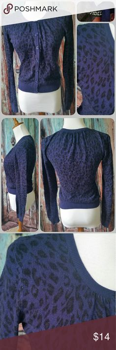 DIVIDED (H&M) cardigan Purplish blue long sleeved crew neck cardigan with black animal print. Divided Sweaters Cardigans