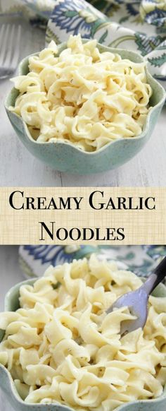 Creamy Garlic Noodles - A simple side dish that pairs well with any dish! Egg noodles tossed in a light and creamy garlic parmesan sauce. Egg Noodle Side Dish, Egg Noodle Dishes, Egg Noodle Recipes, Pasta Dishes, Pasta Recipes, Cooking Recipes, Pasta Sauces, Clean Recipes, Cooking Tips