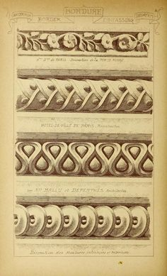 Architectural Drawing Patterns see site for more - 1915 - Vol. 2 - Materials and documents of architecture Architecture Classique, Classic Architecture, Architecture Drawings, Architecture Details, Baroque Frame, Ornament Drawing, Desenho Tattoo, Grisaille, Carving Designs