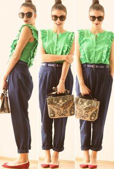 green blouse, jojo, um ano sem zara, green, blue, red, burgandy,