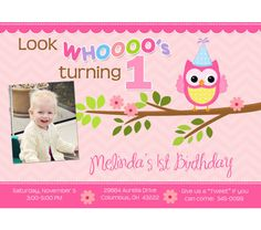 Pink Owl and Chevron Birthday Party Invitations, $15.0