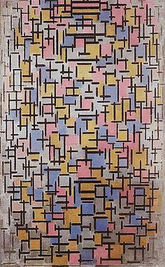 Composition by Piet Mondrian, Guggenheim Museum Solomon R. Guggenheim Museum, New York Solomon R. Guggenheim Founding Collection © 2007 Mondrian/Holtzman Trust Medium: Oil on canvas, with wood. Art Conceptual, Theo Van Doesburg, Cubist Paintings, Cubism Art, Wassily Kandinsky, Instalation Art, Georges Braque, Dutch Painters, Dutch Artists