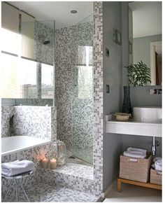 Don't really like the tile, but the idea -- no curtain or door