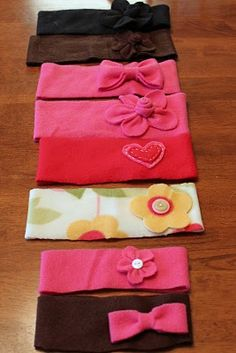 Fleece headbands. I like the embellishments. I would probably double layer it, sew and turn it out instead of a single layer. But cute.