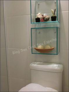 Glass box shelves in wetroom ,toilet bath room Bathroom Design Small, Bathroom Interior Design, Glass Bathroom Shelves, Warm Home Decor, House Front Design, Home Decor Trends, Box Shelves, Bath Room, Sweet