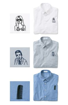 shirt NUSY N by nusy 胸ポッケの刺しゅうに