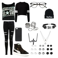 """""""Vibin  ."""" by zemkool ❤ liked on Polyvore featuring Converse, Miss Selfridge, Pieces, Bling Jewelry, Kenneth Cole, Puma and Gucci"""