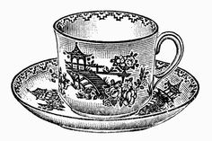 Tea Time - Vintage Illustrations in Black and White - L'Ora del Te - Illustrazioni Vintage in Bianco e Nero