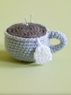Free Crochet Pattern: Amigurumi Tea Cup Pincushion @Lion Brand Yarn Company: Lion Brand® Vanna's Choice®  Pattern #: 80219AD. SKILL LEVEL:  Easy. SIZE: One Size: About 3 in. (7.5 cm) diameter, 2 in. (5 cm) tall.