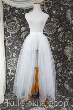 White Tulle Over Skirt with Slit - Adult Full Length Tutu, Wedding Skirt Overlay with Ribbon Waist - Custom Made to Your Measurements by TulleSkirtShop on Etsy