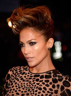 Jennifer Lopez Brings Two Dates to the Met Gala Red Carpet Mohawk Hairstyles For Women, Cool Braid Hairstyles, Trending Hairstyles, Celebrity Hairstyles, Vintage Hairstyles, Updo Hairstyle, Mohawk Updo, Braided Mohawk, Wild Hair