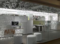 Bernhardt Design's Balance ottoman at Inscape by Studios Architecture Floor Graphics, Window Graphics, Office Interior Design, Interior Design Inspiration, Office Workspace, Office Decor, Glass Signage, Studios Architecture, Advertising Design