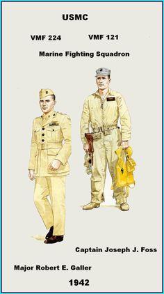 USMC - VMF 224 & 121- R. Galler & J.Foss - 1942 Marine Corps Uniforms, Ww2 Uniforms, Us Marine Corps, Us Marines, American Uniform, Uncle Sam's Misguided Children, Ww2 History, Usmc, World War Two