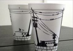 What can you do with a sharpie and a styrofoam cup? If you ask Cheeming Boey, you can do a lot. He started doodling on these cups with a sharpie in Sharpie Designs, Sharpie Projects, Art Projects, Design Projects, Sharpie Cup, Sharpie Doodles, Pen Doodles, Starbucks Cup Art, Coffee Cup Art