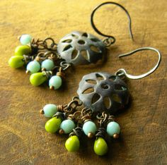 Patinated Copper Sunburst Earrings Green Blue by ChrysalisToo, $37.00