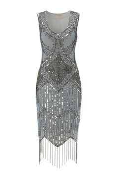 Grey Blue Vintage inspired 1920s vibe FlapperGrey Blue Great Gatsby Beaded Charleston Sequin Art Deco Wedding Fringe Dress New Hand Made<br/><div class='zoom-vendor-name'>By <a href=http://www.ustrendy.com/gatsbylady>Gatsbylady</a></div>