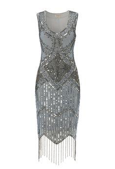 Grey Blue Vintage inspired 1920s vibe FlapperGrey Blue Great Gatsby Beaded Charleston Sequin Art Deco Wedding Fringe Dress New Hand Made<br/><div class='zoom-vendor-name'>By <a href=http://www.ustrendy.com/gatsbylady>Gatsbylady</a></div>