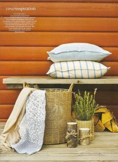 Loose Fit Urban style cushion covers from Bemz in Brera Largo Lapis and Brera Fino Cobalt by Designers Guild for Bemz featured in Swedish Lantliv nr10 2012.