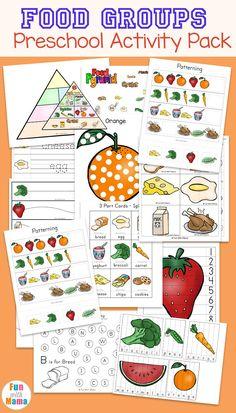 Food Groups Preschool Activity Pack, Free Printables, Educational Worksheets, Homeschool Worksheets, Homeschool Lesson Ideas