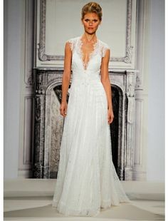 V-Neck Sheath Wedding Dress  with No Waist/Princess Seams in Lace. Bridal Gown Style Number:5179-4268