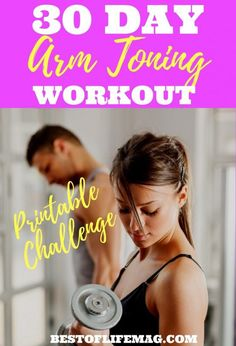 This printable 30 day arm toning workout challenge can be done at home and will tone your arms while keeping them lean and long for a sexy upper body. Fitness Workouts, Arm Workouts At Home, Fitness Herausforderungen, At Home Workouts For Women, Body Workout At Home, Fun Workouts, Body Workouts, Workout Ideas, Fitness Motivation