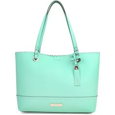 Liz Claiborne Mary Ann Tote Bag (€66) ❤ liked on Polyvore featuring bags, handbags, tote bags, green tote handbag, liz claiborne purses, handbags totes, tote purses and green tote purse