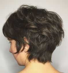Longer Shaggy Pixie for Thick Hair Curly Pixie Hairstyles, Wedge Hairstyles, Short Layered Haircuts, Short Hairstyles For Thick Hair, Haircut For Thick Hair, Hairstyles Over 50, Best Short Haircuts, Short Hair Cuts, Curly Hair Styles