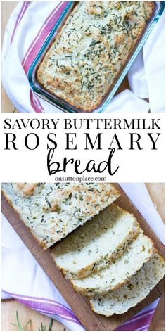 This Savory Rosemary Buttermilk Quick Bread Recipe is the perfect addition to any meal. Simple to make, moist and flavorful quick bread with cheese. #rosemary #quickbread