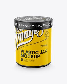 Cylindrical Plastic Jar Mockup - High-Angle Shot (Preview)