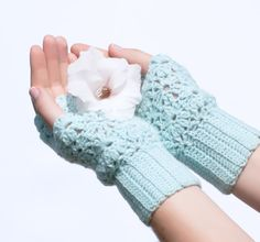 Crochet Lace Mint Mittens Cozy Fingerless Gloves Arm Warmers Women's Hand Warmers Wrist Warmers
