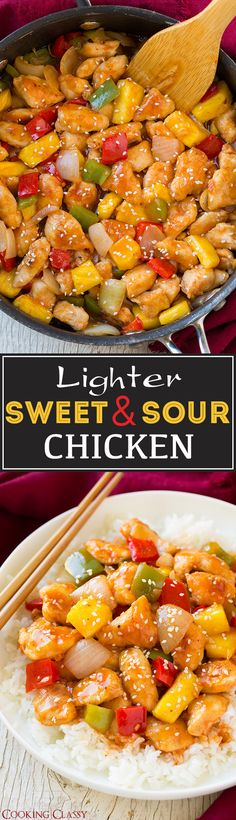 Lighter Sweet and Sour Chicken - love that this tastes just as good as the fried kind without all the extra calories! Still full of flavor and it's packed with veggies.
