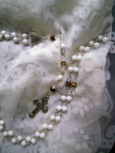 White Jade & Tiger Eye Rosary Prayer Bead by TraceyLGrahamDesigns, $35.00