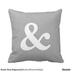 Shop Rustic Gray Ampersand Throw Pillow created by jenniferstuartdesign. Bold Typography, Wedding Pillows, Wedding Gifts For Couples, Wedding Keepsakes, Rustic Design, Custom Pillows, Lululemon Logo, Knitted Fabric, Throw Pillows