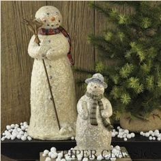 """Snowman with Broom - Resin, 15"""" high. Covered with newly fallen crystallized snow, this impressive snowman glistens in the sunshine! #winter decoration #snow themed decor"""