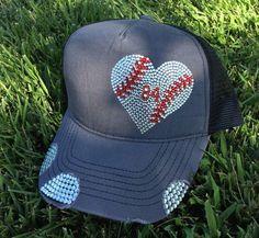 bafee085c97a9 Baseball bling heart hat by IcedCaps on Etsy Baseball Mom