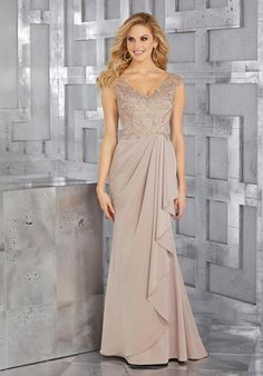 Shop Morilee's Crepe Mother of the Bride Gown with Beaded Embroidery and Draping at the Waist. Crepe with Beaded Embroidery Quince Dresses, Mob Dresses, Wedding Dresses, Mother Of The Bride Dresses Long, Mothers Dresses, Principal Sponsors Gown, Bride Gowns, Marie, Ball Gowns