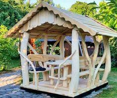 Blockhaus Gartenhaus Gartengarnitur Pavillon aus Massivholz und Baumstämmen